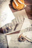 Classes on the milling cutters, bearings and mechanical diagrams royalty free stock photos