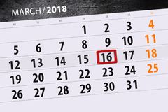 Classez l'année de page la date 16 de mars de 2018 mois Image libre de droits