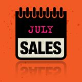 Classez le label avec les ventes de juillet de mots écrites à l'intérieur Photo stock