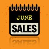 Classez le label avec les ventes de juin de mots écrites à l'intérieur illustration stock