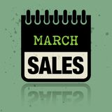Classez le label avec les ventes de mars de mots écrites à l'intérieur Images stock