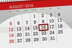 Classez le planificateur pour le mois, le jour de date-butoir de la semaine, 2018 augustes, 16, jeudi Photographie stock