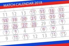 Classez le planificateur pour le mois, jour de date-butoir de la semaine, mardi, le 17 juillet 2018 Image libre de droits