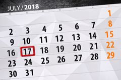 Classez le planificateur pour le mois, jour de date-butoir de la semaine, mardi 2018 17 juillet Image stock