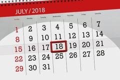 Classez le planificateur pour le mois, jour de date-butoir de la semaine, mercredi, le 18 juillet 2018 Photo stock