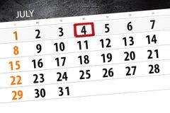 Classez le planificateur pour le mois, jour de date-butoir de la semaine, mercredi, 2018 le 4 juillet, Jour de la Déclaration d'I Photographie stock