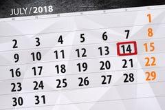 Classez le planificateur pour le mois, jour de date-butoir de la semaine, samedi, le 14 juillet 2018 Photo libre de droits