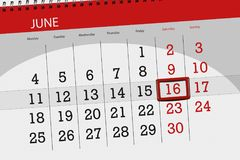 Classez le planificateur pour le mois, jour de date-butoir de la semaine, samedi, le 16 juin 2018 Photographie stock