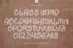 Classez les rétros lettres et les nombres d'alphabet de style de vent illustration stock