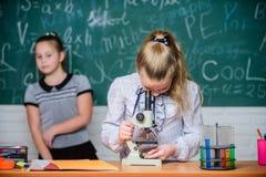 Classi di scuola Le ragazze studiano la chimica a scuola Lezioni di chimica e di biologia Teoria e pratica Osservi chimico fotografia stock