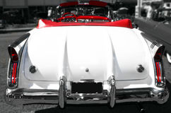 Classic 1950's Car. In black and white with red seats Royalty Free Stock Photos