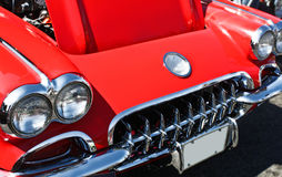 Classic 1950s Car. Front end of classic red 1950s sports car Stock Photo