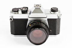 Classic 35mm SLR Camera. Interchangeable lens, 35 mm film, single-lens reflex (SLR) camera,manual-focus with manual exposure control,isolated on white stock image
