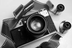 Classic 35mm SLR camera and film Royalty Free Stock Photography