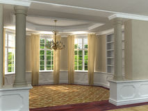 Classic 3D luxurious interior. With hardwood floors and draped windows looking toward garden Royalty Free Stock Image
