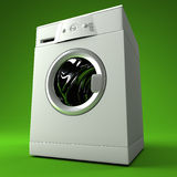 Classic 3d washing machine. Fine image 3d of classic washing machine with green background Stock Images