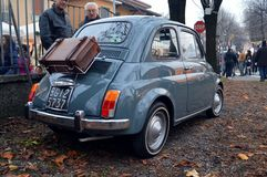 Classic 500. A classic FIAT 500 perfectly restored is exposed in a garden during the 2012 Sagra Novembrina in Filago (Italy). This classic FIAT model is well Royalty Free Stock Photos