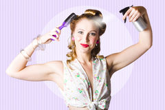Classic 50s Pinup Girl Combing Hair Style Royalty Free Stock Images