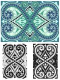 Classic abstract ornate tile seamless in blues Royalty Free Stock Images