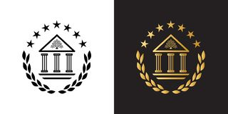 Crest logo with classic academy building, laurel wreath and stars. Classic academy building with columns and tree as a wisdom symbol on the top. Crest logo with stock illustration