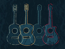 Classic and acoustic guitar graphic. Classic and acoustic guitar graphic with simple drawing line and grunge texture Stock Photo