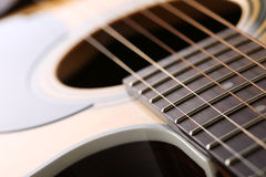 Classic acoustic guitar at weird and unusual perspective Royalty Free Stock Image