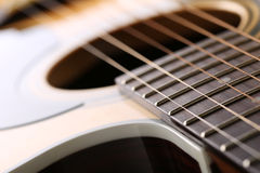 Classic acoustic guitar at weird and unusual perspective Royalty Free Stock Photo