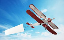 Classic airplane pulling blank white text banner. 3D illustration.  royalty free illustration