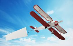 Classic airplane pulling blank white text banner. 3D illustration.  stock illustration