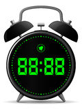 Classic alarm clock with digital display. Classic black alarm clock with digital display vector illustration