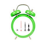 Classic alarm clock. Isolated, green on white. Classic alarm clock, green on white stock photography