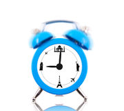 Classic alarm clock with landmarks on dial Royalty Free Stock Photography