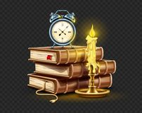 Free Classic Alarm Clock On Pile Stack Of Books And Candle Banner. Vector Illustration. Royalty Free Stock Images - 166011689
