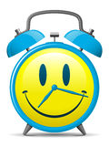 Classic alarm clock with smiley face. Classic alarm clock with yellow smiley face stock illustration