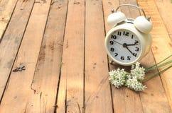 Classic alarm clock on wood Stock Photography