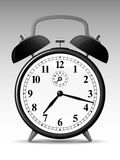 Classic alarmclock. Classic analog alarmclock on grey background stock illustration