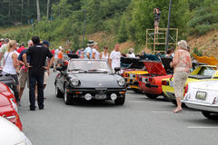 Classic Alfa romeo spider at event front angle Stock Photography