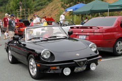 Classic Alfa romeo spider at event front side angl Stock Photos