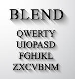 Classic alphabet with modern long shadow effect. Royalty Free Stock Image