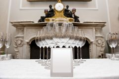 Classic ambient for banqueting. Galleries with classic equipment for banqueting and catering Stock Photos