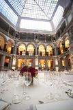 Classic ambient for banqueting. Galleries with classic equipment for banqueting and catering Royalty Free Stock Photography