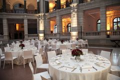 Classic ambient for banqueting. Galleries with classic equipment for banqueting and catering Stock Image