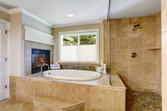 Classic American bathroom with whithe bath tub Stock Images