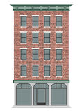 A classic American brick multi-storey house. Business center of the city. Expensive real estate. Royalty Free Stock Photo