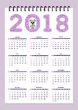 Creative calendar with drawn toy dog for wall year 2018. Classic american calendar for wall year 2018 with cartoon toy dog. English language. Week starts on Stock Photography