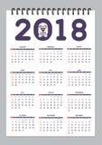 Creative calendar with drawn toy dog for wall year 2018. Classic american calendar for wall year 2018 with cartoon toy dog. English language. Week starts on Royalty Free Stock Photos