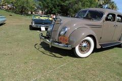 Classic desoto driven on field. Classic American car being driven on field. 1935 Desoto Airflow. Boca Raton Resort Club, south Florida Stock Photos