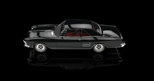 Classic American Car On Black Background Top View Royalty Free Stock Images