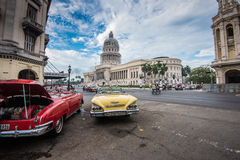 Classic american car and Capitolio landmark in Havana,Cuba Stock Images