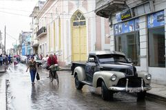 Classic American car in Cuba. Street in Matanzas, a Cuban city, with classic American car Royalty Free Stock Photography